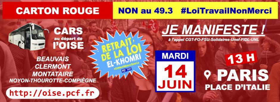 14 juin, Paris - Manifestation nationale unitaire pour le retrait du projet de loi El Khomri