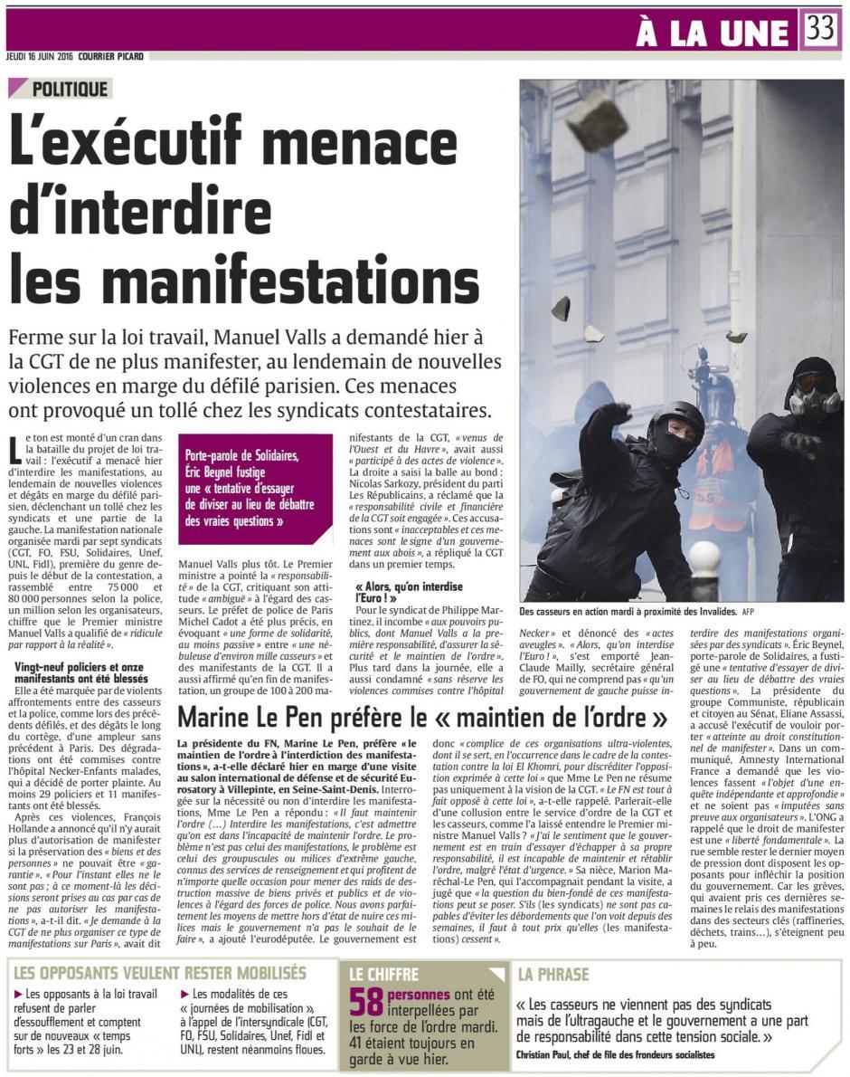 20160616-CP-France-L'exécutif menace d'interdire les manifestations