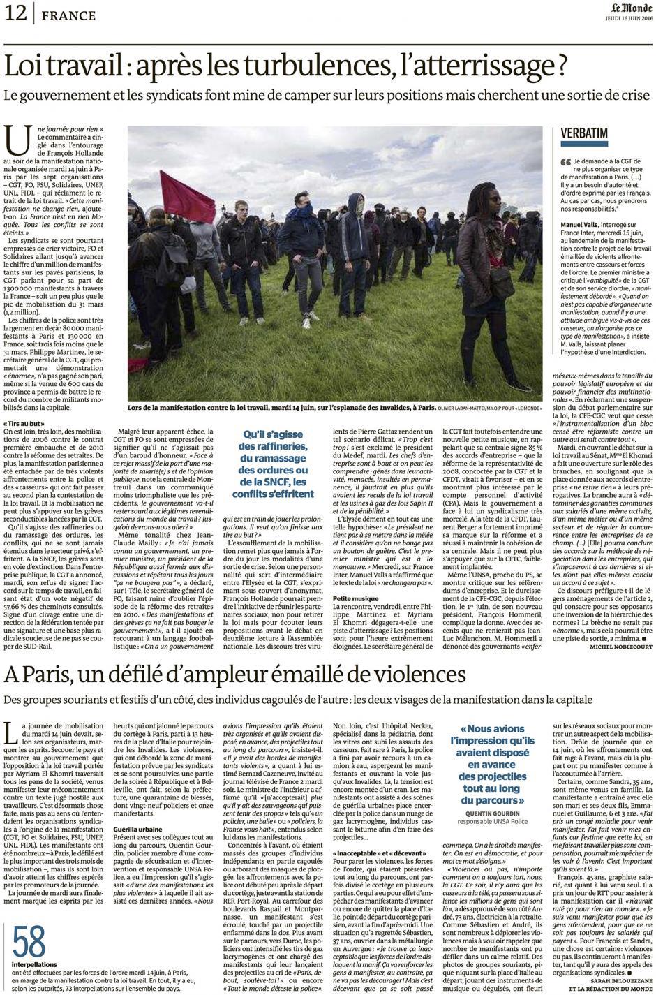 20160616-LeM-France-Loi Travail : après les turbulences, l'atterrissage ?