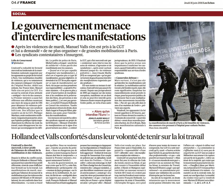 20160616-LesE-France-Le gouvernement menace d'interdire les manifestations
