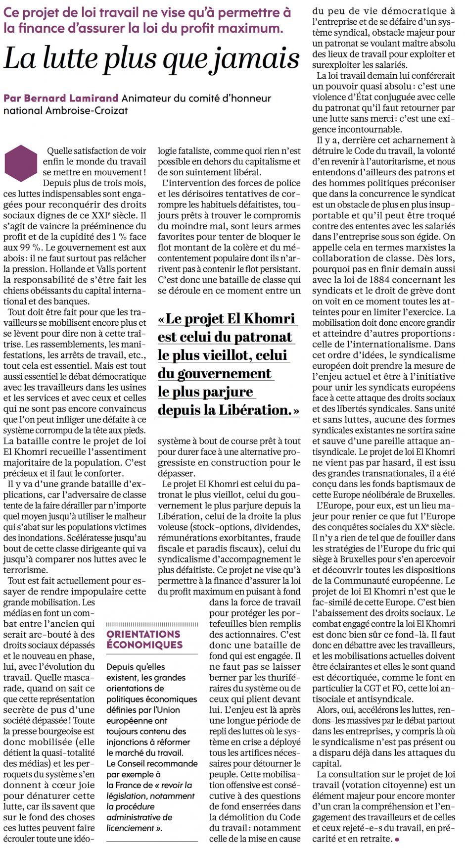 20160617-L'Huma-France-La lutte plus que jamais [Bernard Lamirand]