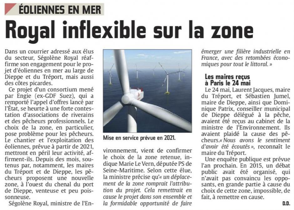 20160618-CP-Dieppe-Le Tréport-Éoliennes en mer : Royal inflexible sur la zone