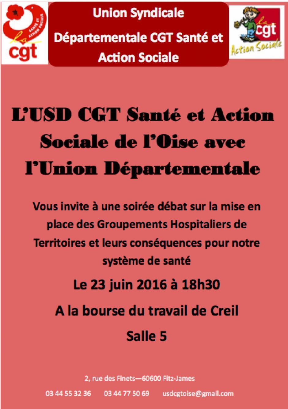 23 juin, Creil - USD CGT Santé et Action sociale-Réunion d'information sur les Groupements hospitaliers de territoire (GHT)