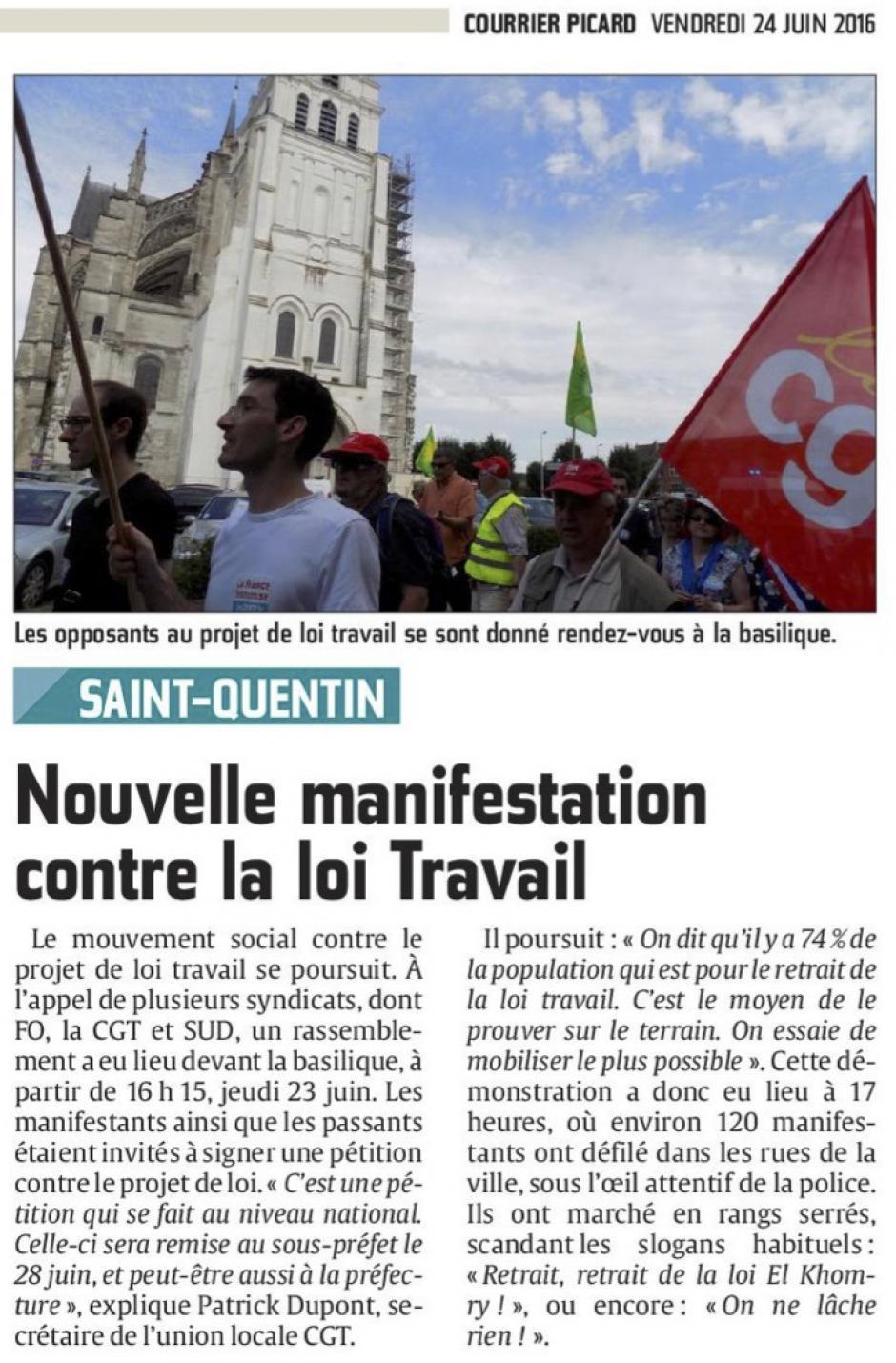 20160624-CP-Saint-Quentin-Nouvelle manifestation contre la loi Travail [édition Saint-Quentin]