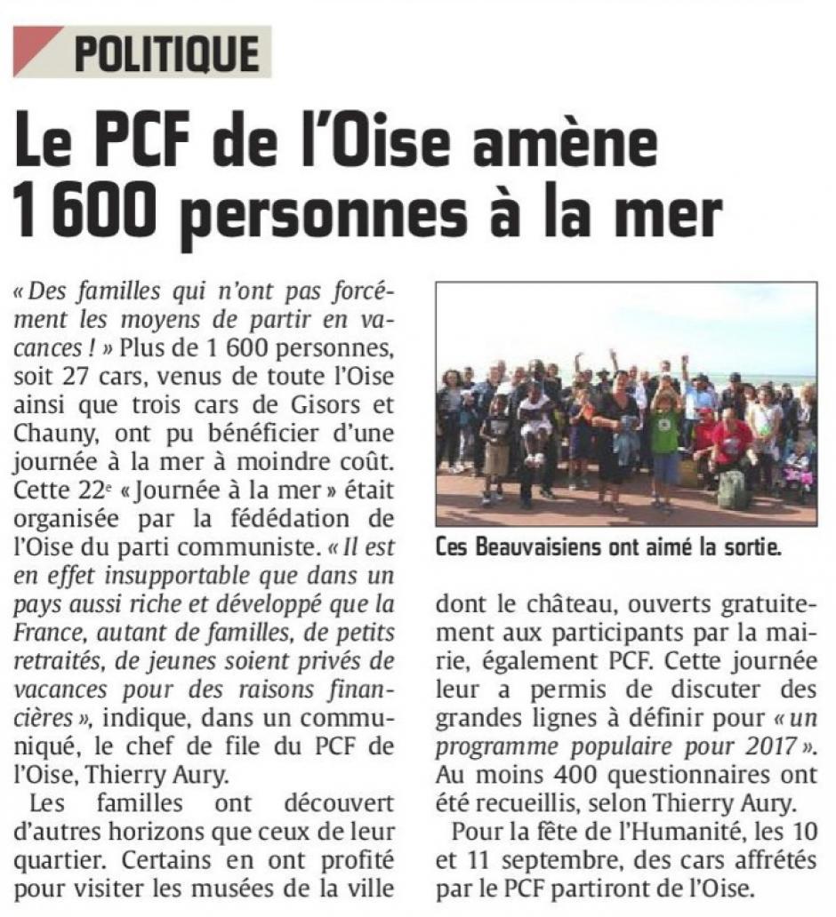 20160822-CP-Oise-Le PCF amène 1 600 personnes à la mer [pages régionales]