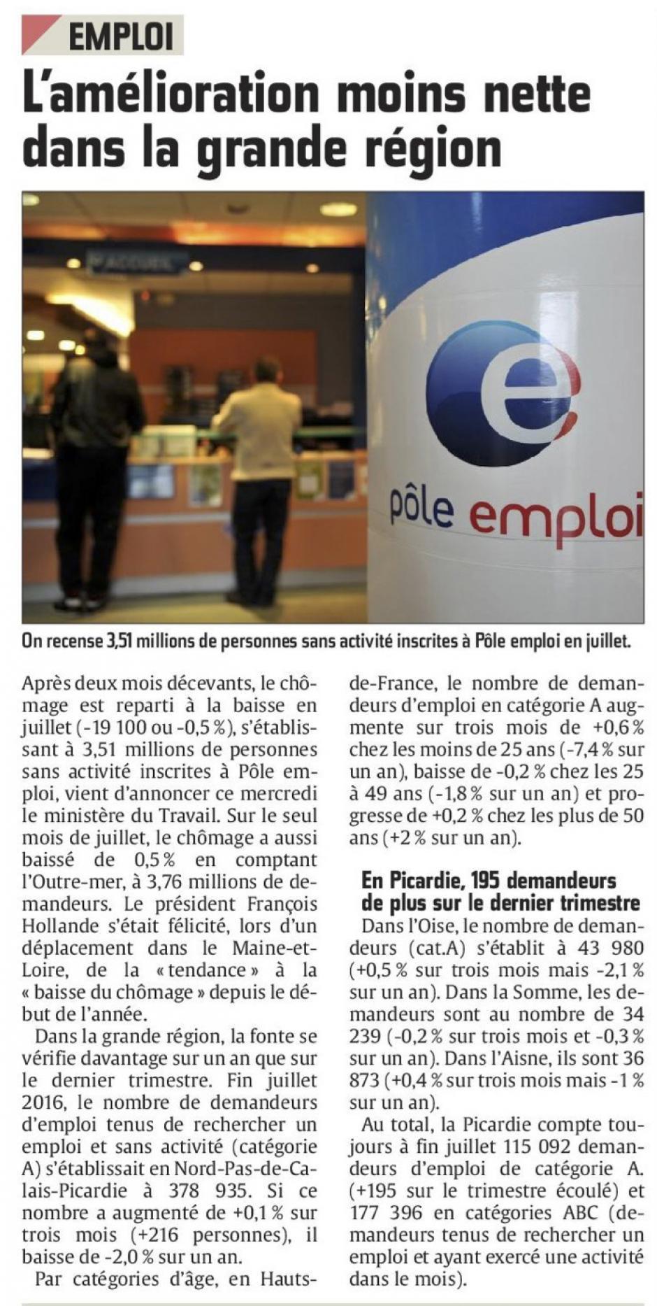 20160825-CP-Hauts-de-France-Emploi : l'amélioration moins nette dans la grande région