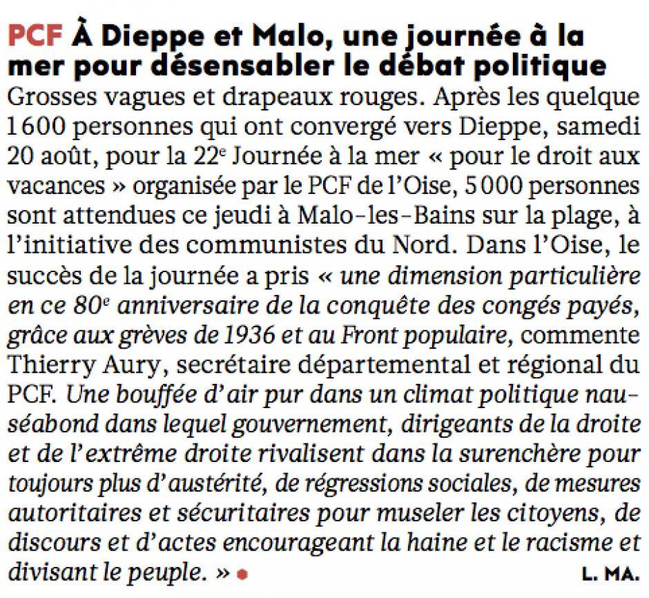 20160825-L'Huma-Oise-À Dieppe et Malo, une journée à la mer pour désensabler le débat politique