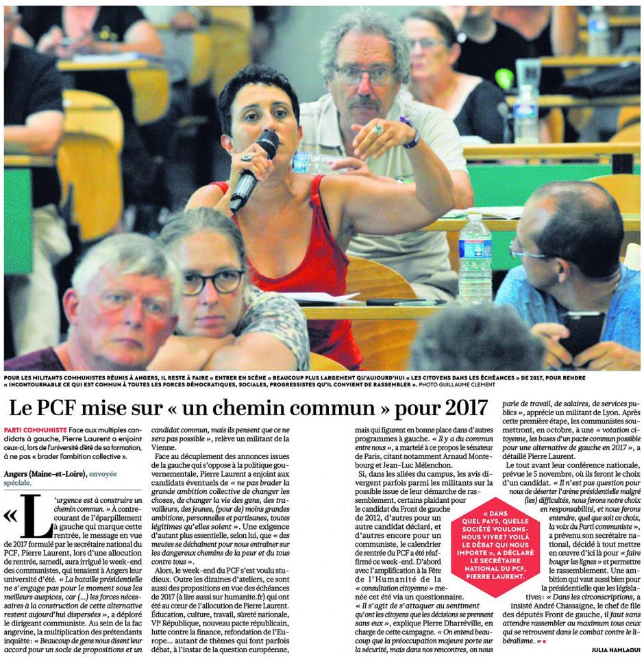 20160829-L'Huma-Angers-Le PCF mise sur « un chemin commun » pour 2017