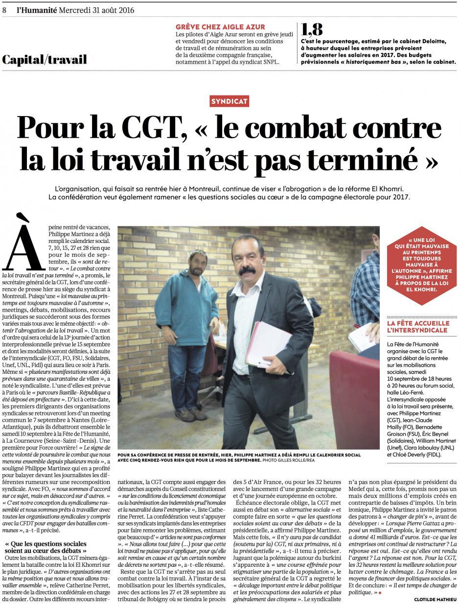20160831-L'Huma-France-Pour la CGT, « le combat contre la loi Travail n'est pas terminé »