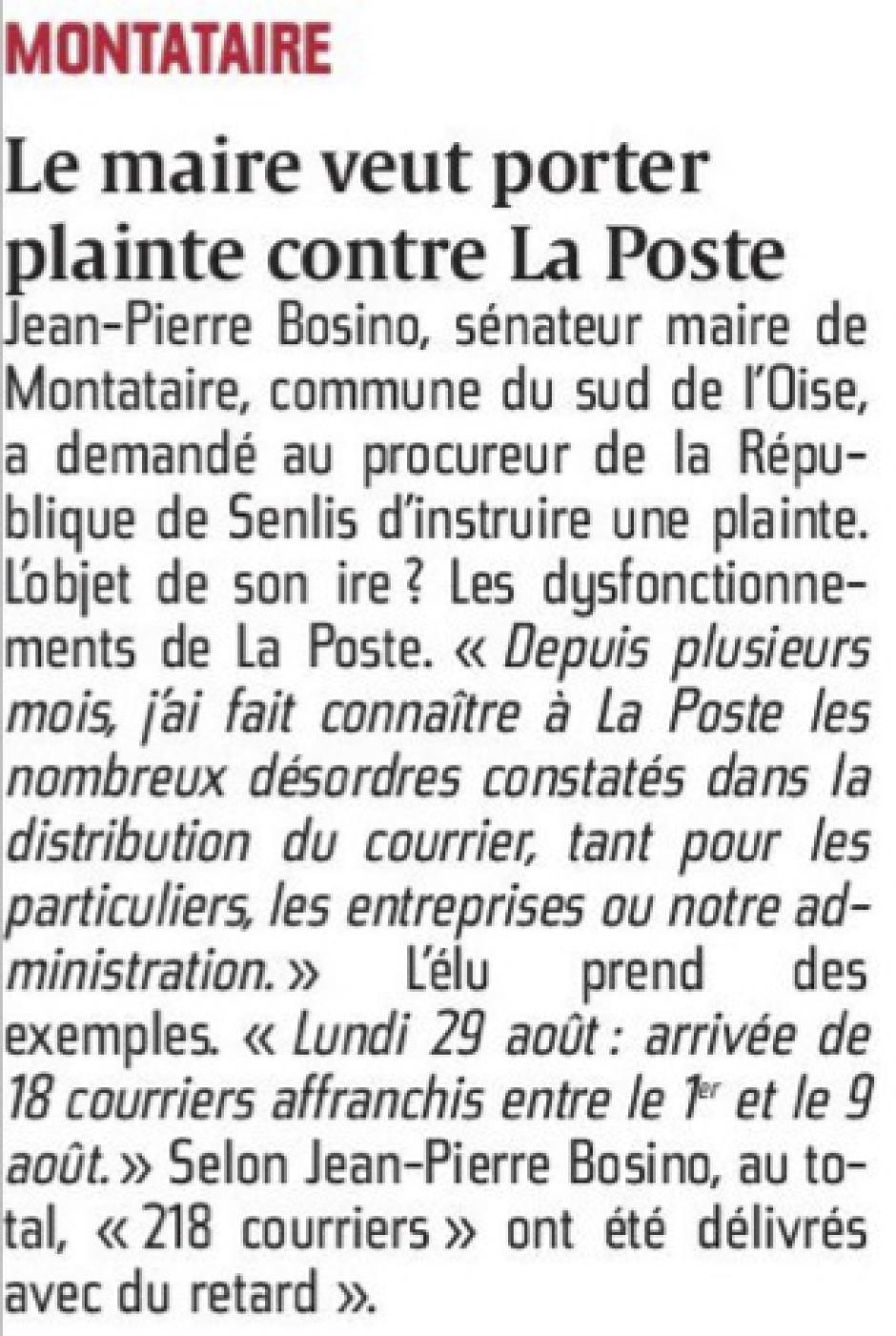 20160902 Cp Montataire Le Maire Veut Porter Plainte Contre La Poste