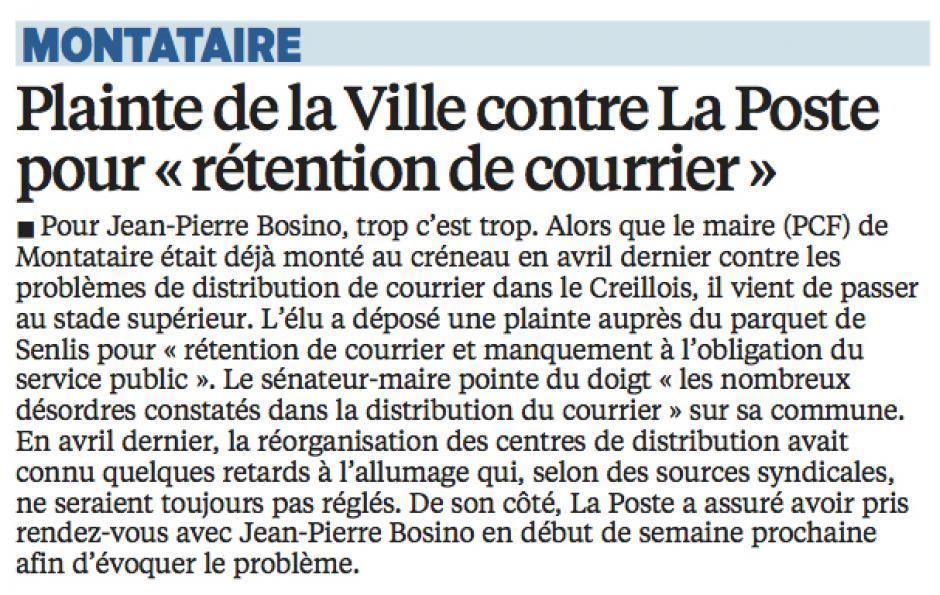 20160903-LeP-Montataire-Plainte de la Ville contre La Poste pour « rétention de courrier »