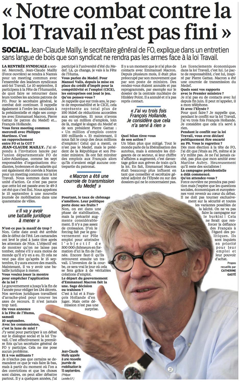 20160905-LeP-France-Jean-Claude Mailly : « Notre combat contre la loi Travail n'est pas fini »