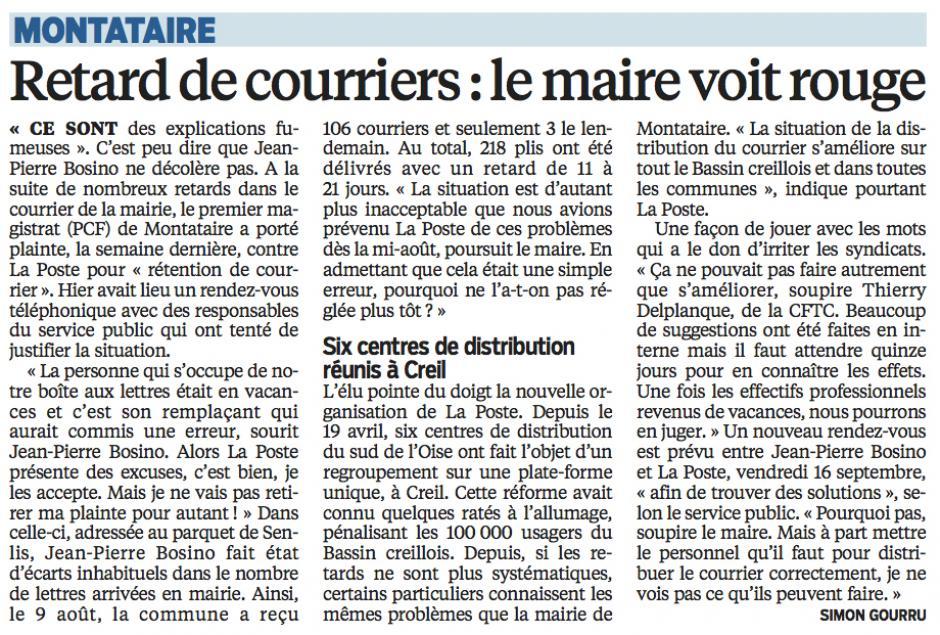 20160907-LeP-Montataire-Retard de courriers : le maire voit rouge