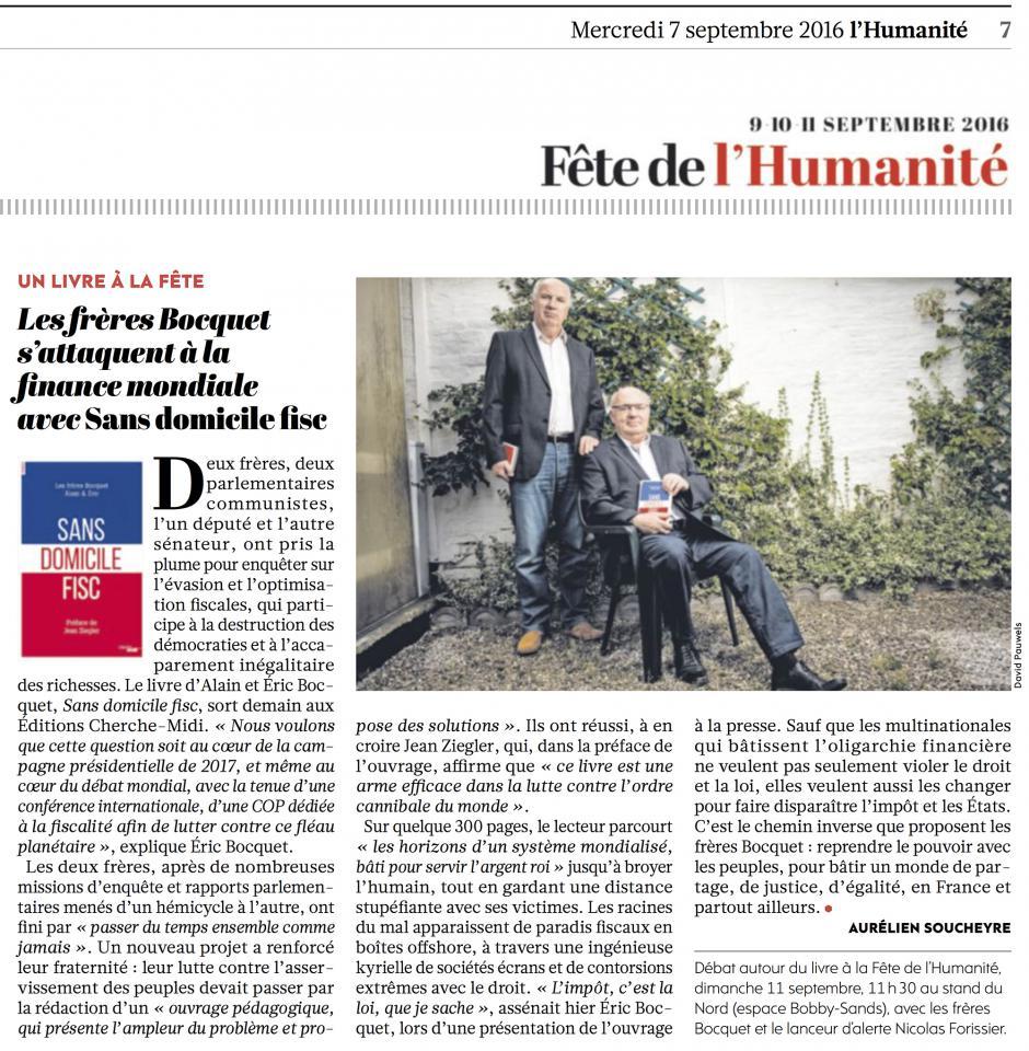 20160907-L'Huma-France-Les frères Bocquet s'attaquent à la finance mondiale avec «Sans domicile fisc »