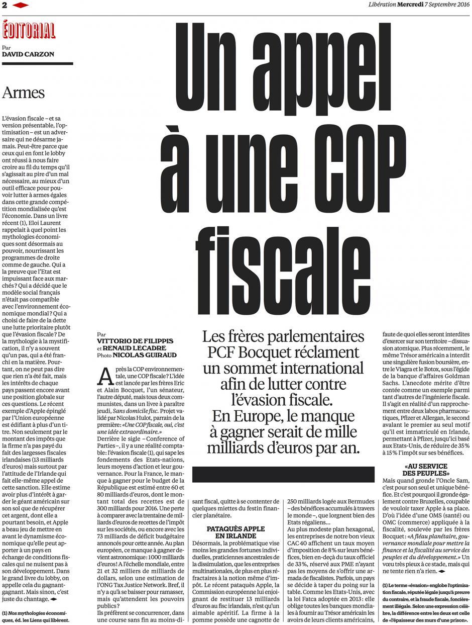 20160907-Libé-Monde-Un appel à une COP fiscale