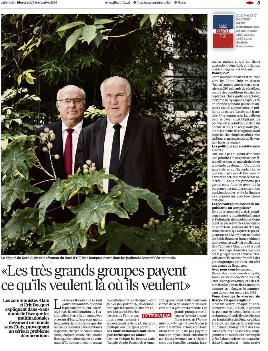 20160907-Libé-Monde-Alain et Éric Bocquet : « Les très grands groupes payent ce qu'ils veulent là où ils veulent »
