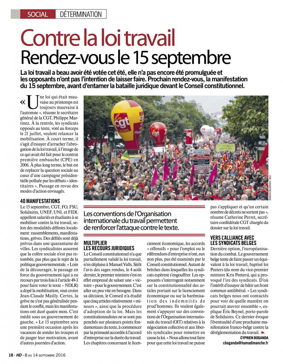 20160908-HD-France-Contre la loi Travail, rendez-vous le 15 septembre