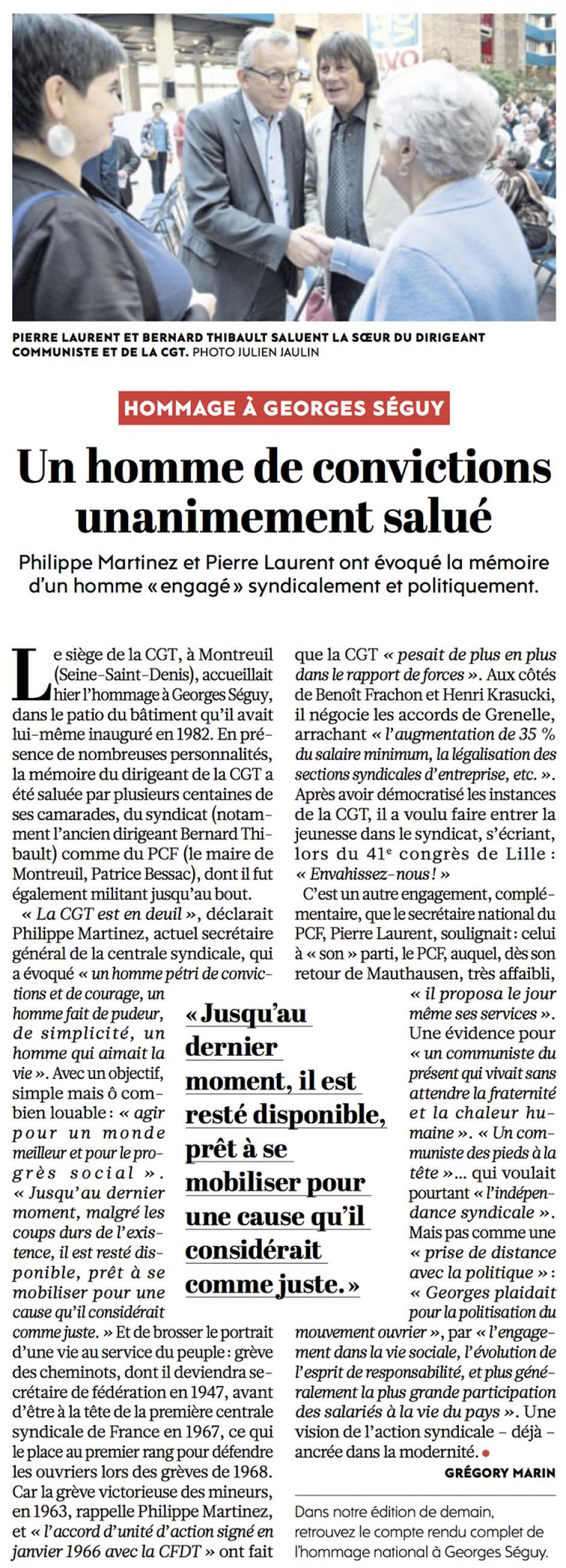 20160921-L'Huma-Montreuil-Hommage à Georges Séguy : un homme de convictions unanimement salué