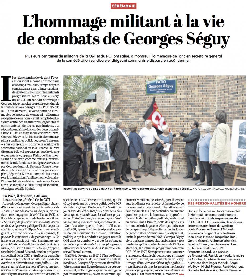 20160922-L'Huma-Montreuil-L'hommage militant à la vie de combats de Georges Séguy