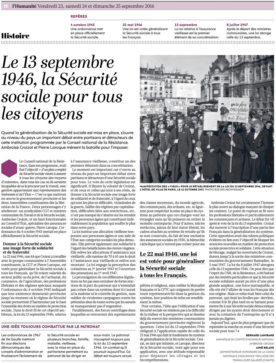 20160923-L'Huma-France-Le 13 septembre 1946, la Sécurité sociale pour tous les citoyens [Bernard Lamirand]