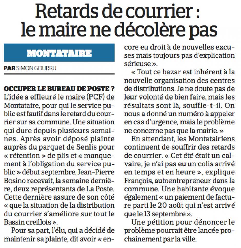 20160924-LeP-Montataire-Retards de courrier : le maire ne décolère pas