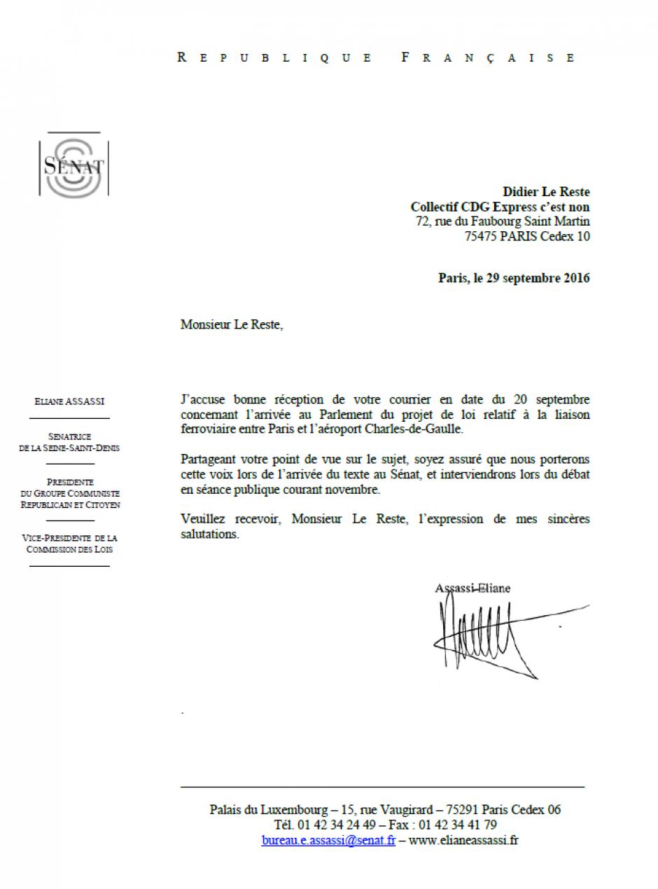 Courrier d'Éliane Assassi, présidente du groupe Communiste, Républicain et Citoyen au collectif Non au CDG Express - 29 septembre 2016