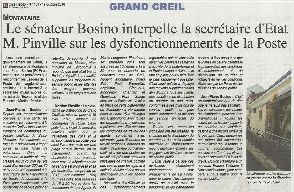 20161019-OH-Montataire-Le sénateur Jean-Pierre Bosino interpelle la secrétaire d'État M. Pinville sur les dysfonctionnements de La Poste