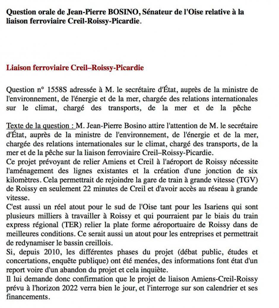 Question orale déposée par Jean-Pierre Bosino « Liaison ferroviaire Creil-Roissy-Picardie » - Sénat, 20 octobre 2016