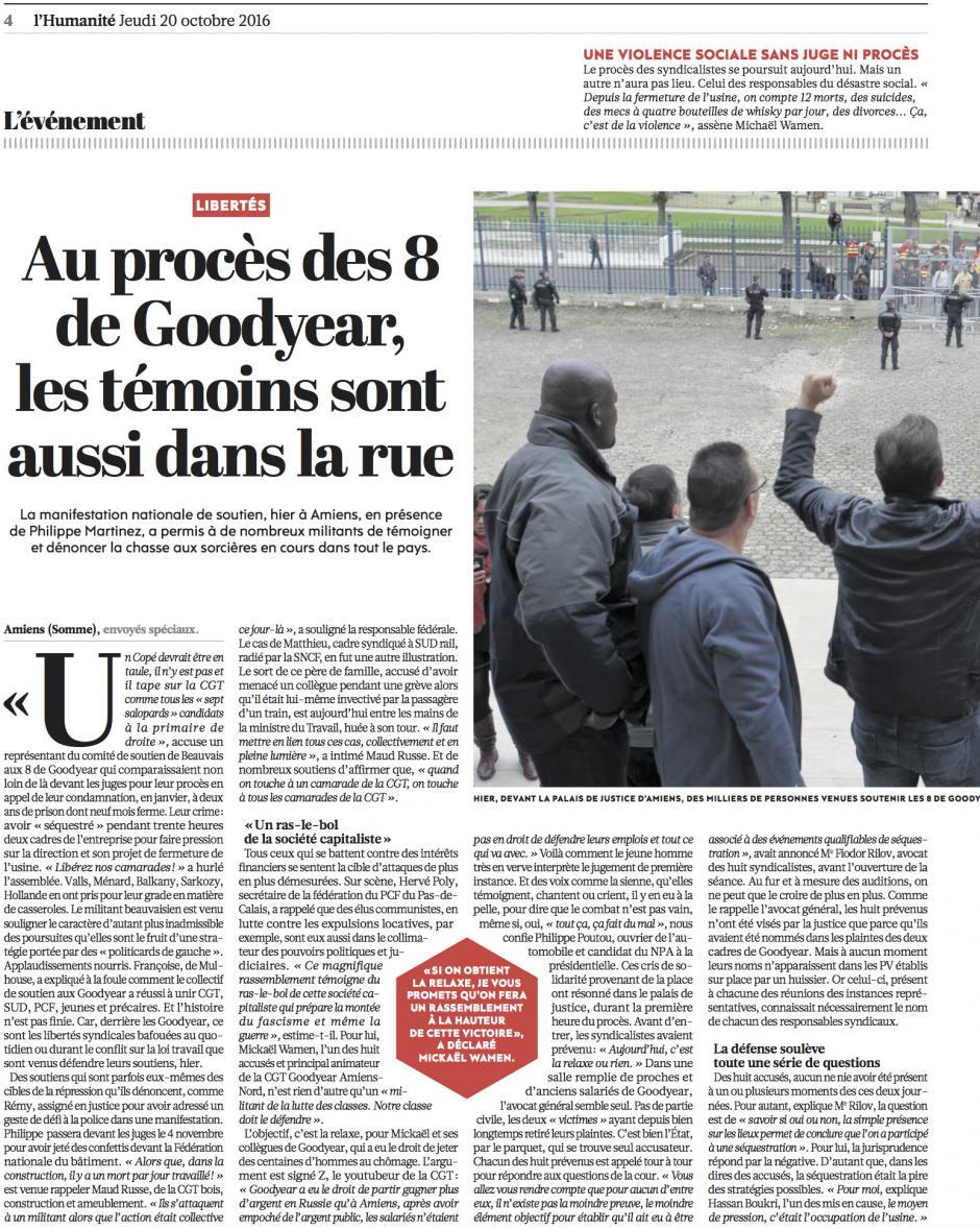 20161020-L'Huma-Au procès des 8 de Goodyear, les témoins sont aussi dans la rue