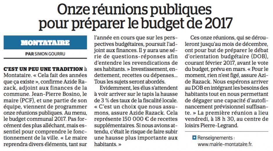 20161026-LeP-Montataire-Onze réunions publiques pour préparer le budget 2017
