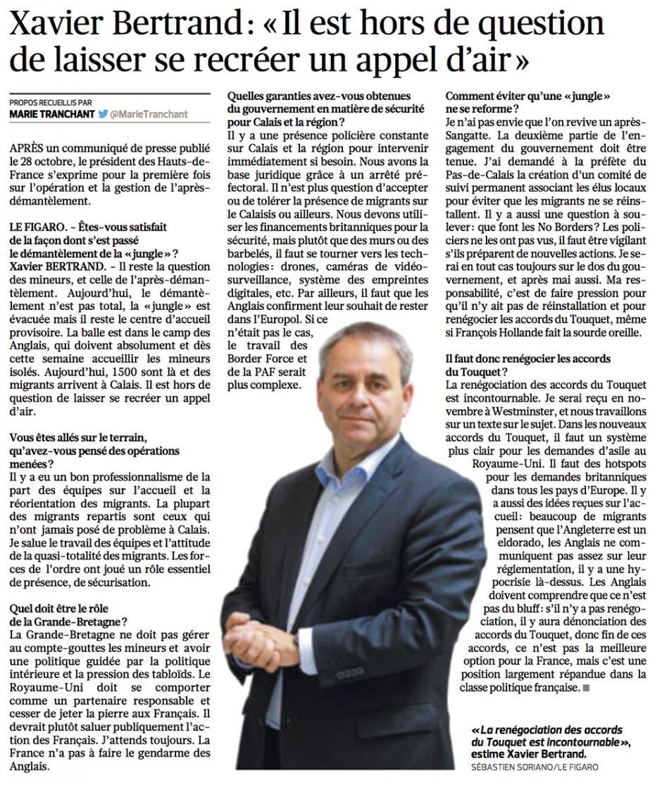 20161101-LeFig-Hauts-de-France-Xavier Bertrand : « Il est hors de question de laisser se recréer un appel d'air »