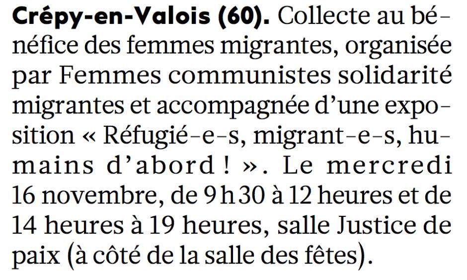 20161114-L'Huma-Crépy-en-Valois-Collecte de Femmes Communistes Solidarité Migrantes