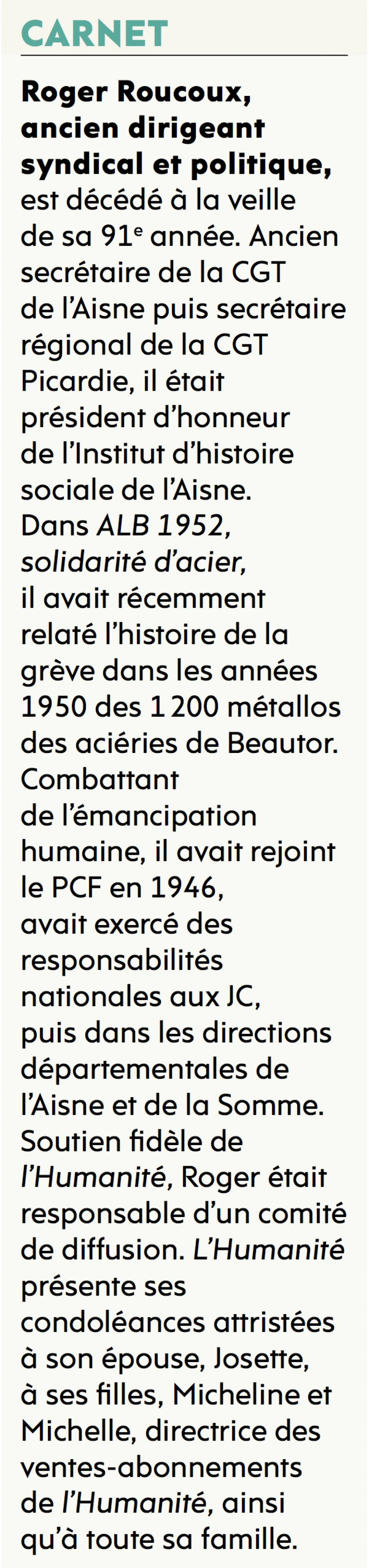 20161114-L'Huma-Picardie-Roger Roucoux, ancien dirigeant syndical et politique, est décédé