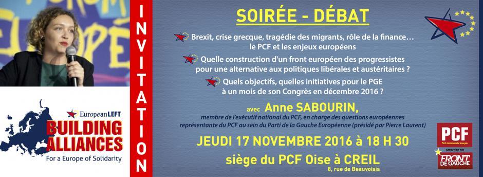 17 novembre, Creil - Rencontre-débat autour des enjeux européens, avec Anne Sabourin