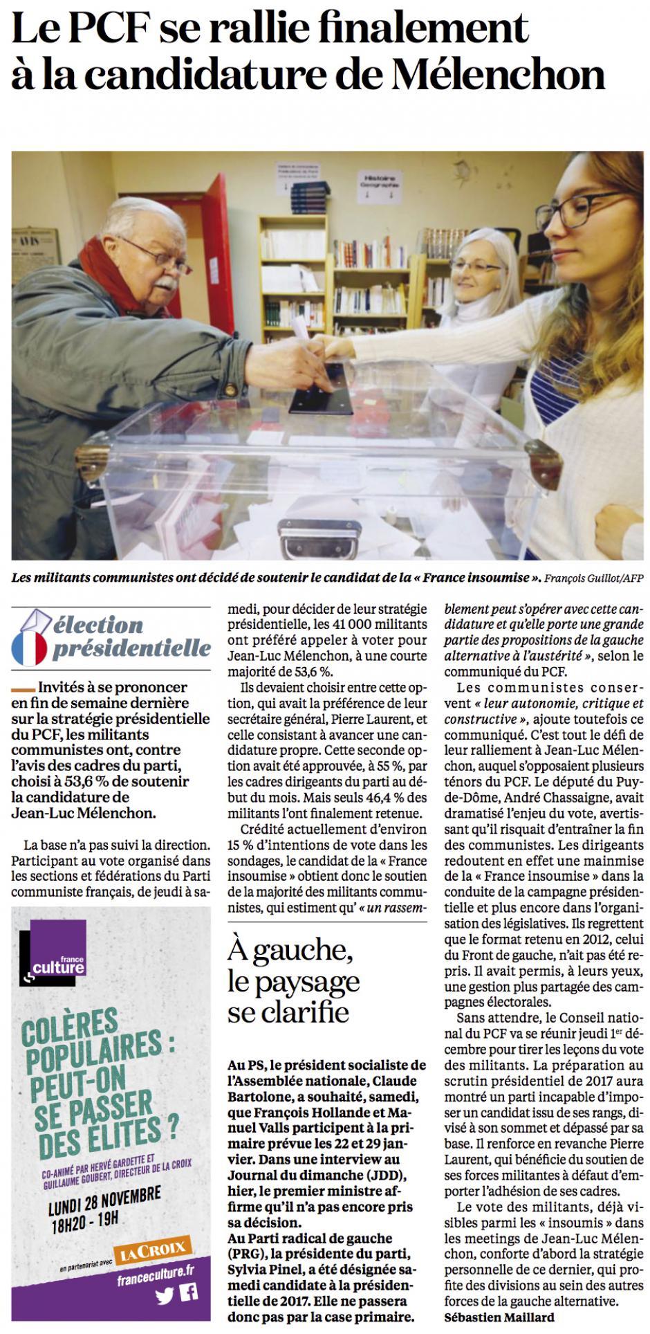 20161128-LaC-France-P2017-Le PCF se rallie finalement à la candidature de Mélenchon