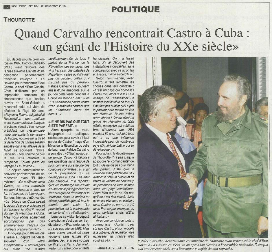 20161130-OH-France-Quand Patrice Carvalho rencontrait Fidel Castro à Cuba : «un géant de l'Histoire du XXe siècle »