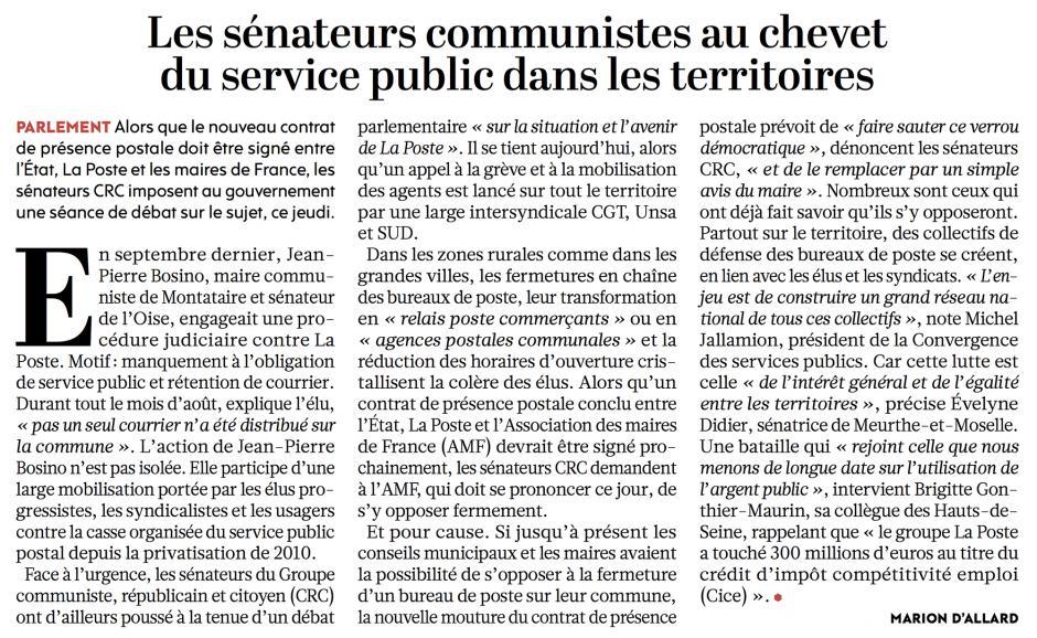 20161208-L'Huma-France-Les sénateurs communistes au chevet du service public dans les territoires