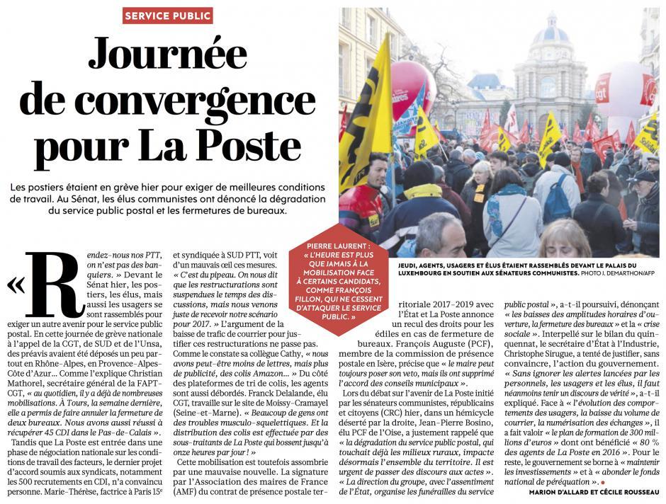 20161209-L'Huma-France-Journée de convergence pour La Poste