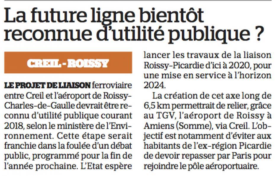 20161215-LeP-Creil-Roissy-La future ligne bientôt reconnue d'utilité publique ?