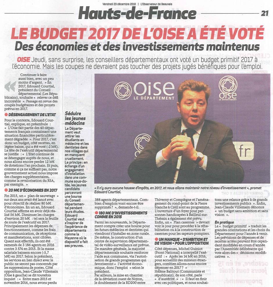 20161223-ObsBv-Oise-Le budget 2017 du département a été voté
