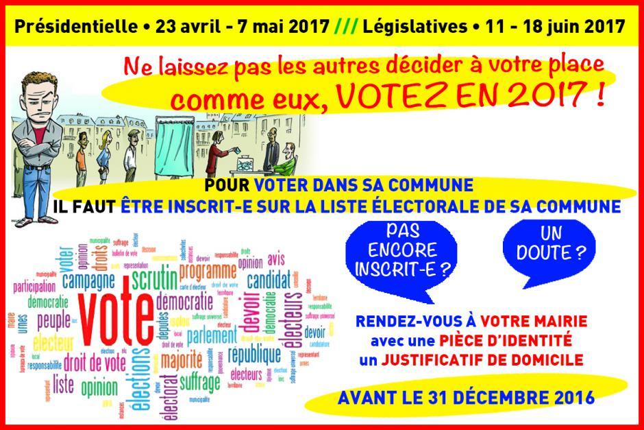 Inscription sur les listes électorales : vous avez jusqu'au 31 décembre 2016 !
