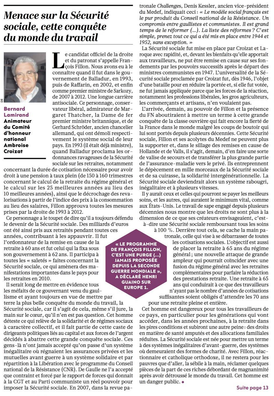 20170104-L'Huma-Bernard Lamirand : « Menace sur la Sécurité sociale, cette conquête du monde du travail »