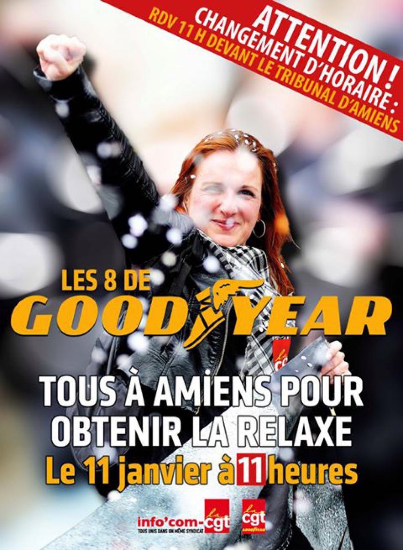 11 janvier, Amiens - Rassemblement de soutien « Relaxe pour les 8 de Goodyear ! »