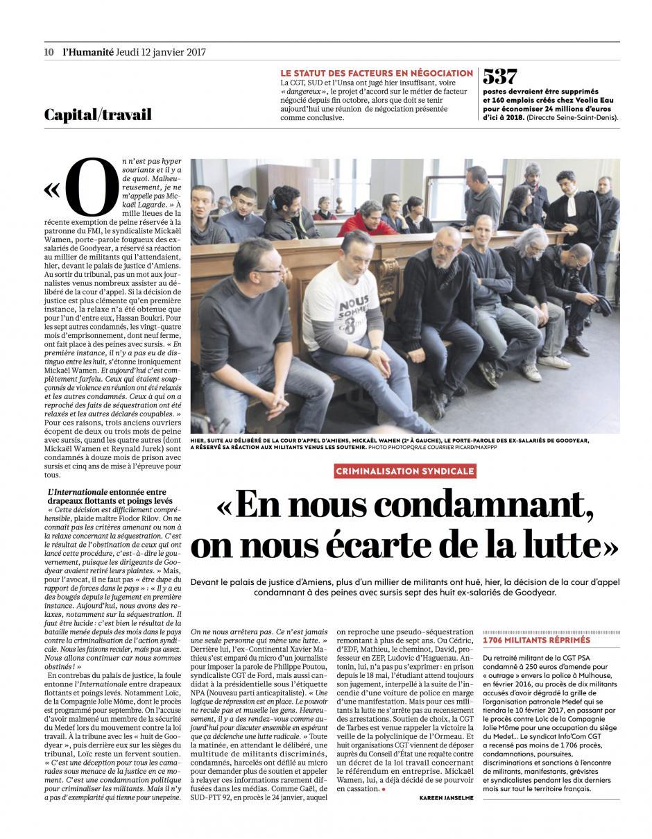 20170112-L'Huma-Amiens-« En nous condamnant, on nous écarte de la lutte »