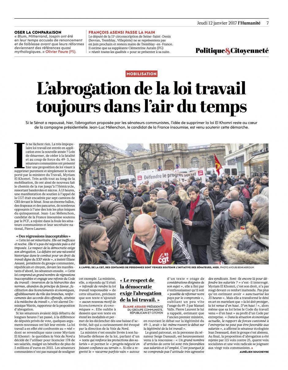 20170112-L'Huma-France-L'abrogation de la loi Travail toujours dans l'air du temps