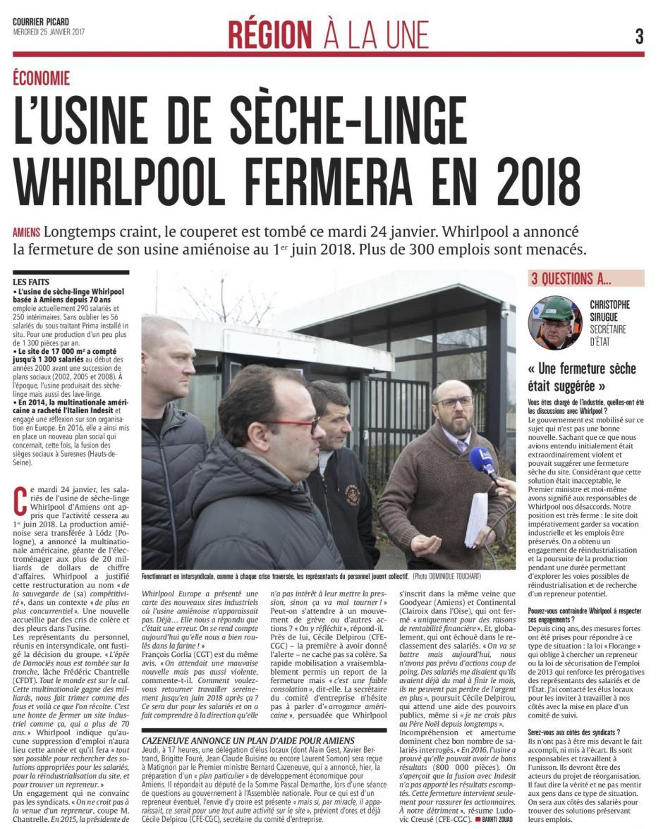 20170125-CP-Amiens-L'usine de sèche-linge Whirlpool fermera en 2018 [pages régionales]
