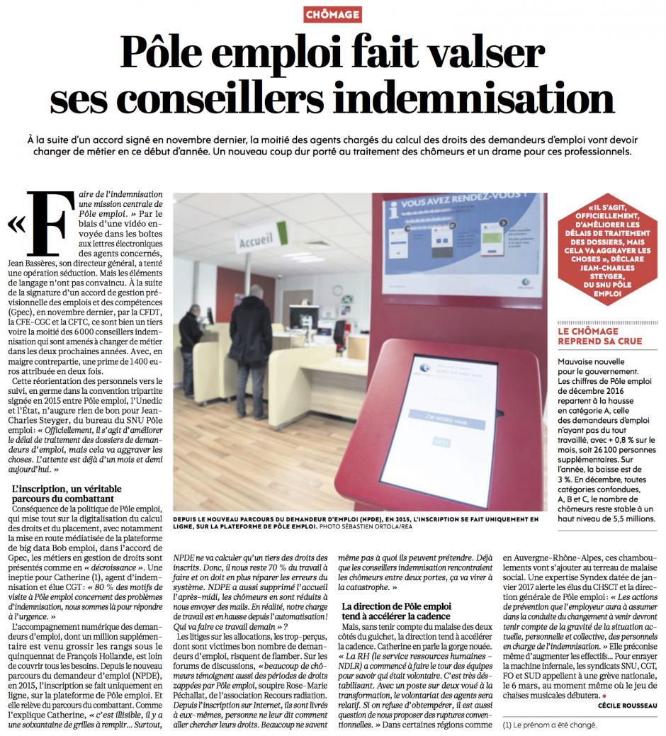 20170125-L'Huma-France-Pôle emploi fait valser ses conseillers indemnisation