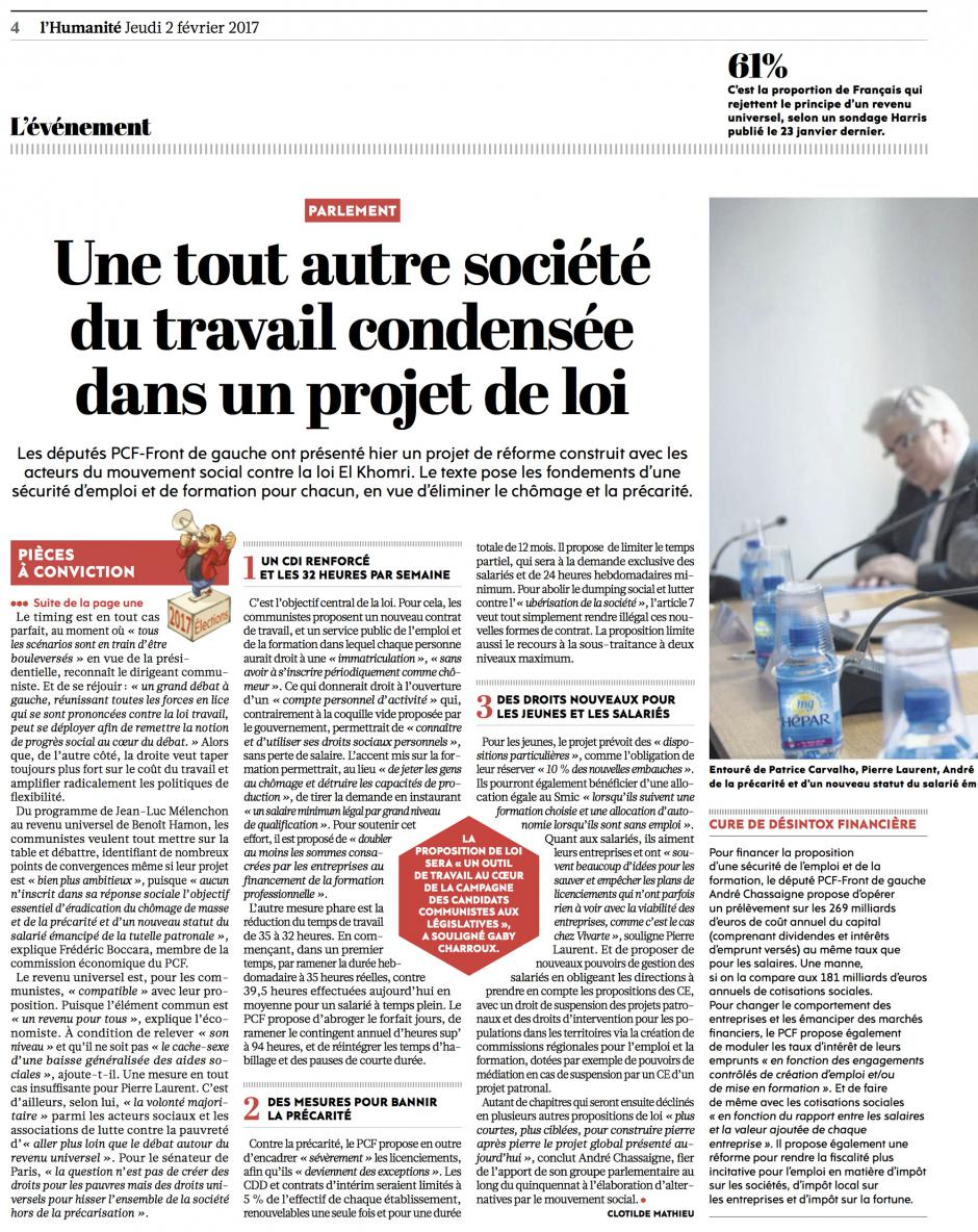 20170202-L'Huma-France-Une tout autre société du travail condensée dans un projet de loi