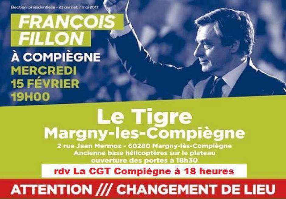 15 février, Margny-lès-Compiègne - CGT Compiègne-Comité d'accueil de François Fillon avec casseroles
