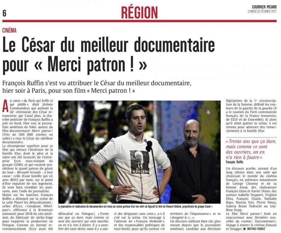 20170225-CP-France-Le César du meilleur documentaire pour « Merci patron ! »